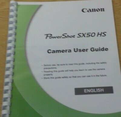 Canon Powershot Sx50 Hs Full User Manual Guide Instructions Printed 283 Pages A5