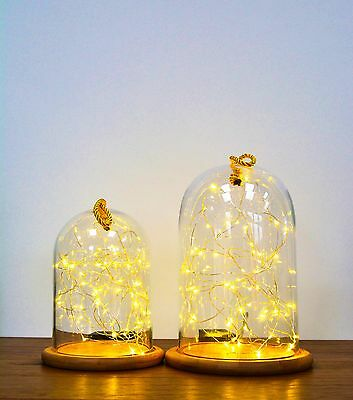 Glass Cloche | Bell Jar Display Dome  Bamboo Base | String Light Lamp CHRISTMAS