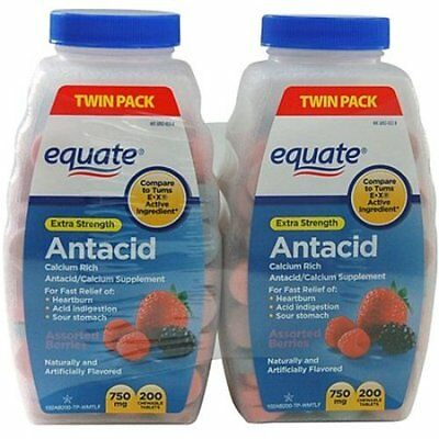 2pk Equate Extra Strength Assorted Berry Antacid 200ct Chewable Tablets 750mg