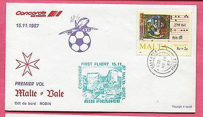 1987 Concorde Af First Flight Cover Malta To Basel Switzerland