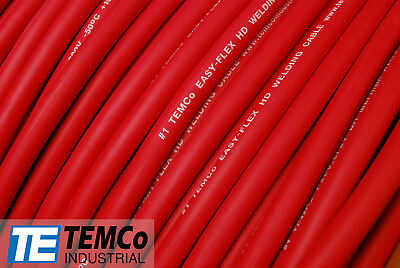 WELDING CABLE 1 AWG RED Per-Foot CAR BATTERY LEADS USA NEW Gauge Copper