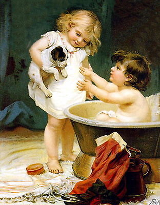 Morgan Print BATH TIME Victorian Child Brother Sister Jack Russell Terrier Puppy