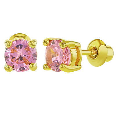 18k Gold Plated Prong Set Pink CZ Screw Back Small Round Earrings 5mm