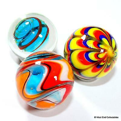 3 x 25mm Vibrant Handmade Glass Art Toy Marbles - Marble Collectors Set