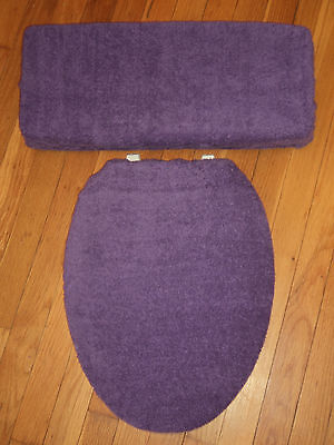Purple Bathroom Terry Cloth Terrycloth Toilet Seat & Tank Lid Cover Set