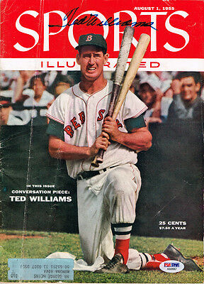 Ted Williams Signed Autographed Sports Illustrated Aug 1 1955 Psa/dna Ab08967