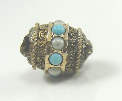 Victorian Gold Filled Ladies Watch Slide Turquoise Seed Pearl 3D 3/8""