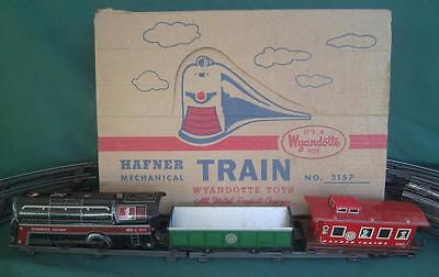 Vintage Hafner Wayndotte Haiwathis Wind-Up Train Set 2157 Tin Litho S Scale  Box