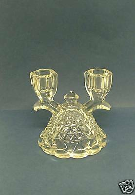 Imperial Glass LACED EDGE No 749 Katy Clear Double Light Candlestick.