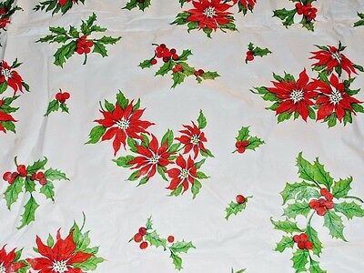 Vintage Christmas Flannel Back Vinyl Tablecloth White & Red Poinsettia 89 x 52