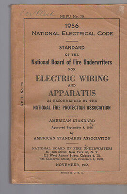 National Electrical Code NEC 1956 Regulations for Electric Wiring & Apparatus