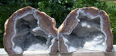 SiS: LOVELY SPARKLING Drusy Geode Bookends - Dugway, Utah