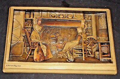"""Antique """"A Friendly Call"""" Plaque by Ivorex Osbourne Two Women England"""
