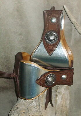 """New USA Made 5"""" Wide Metal Bound Bell Stirrups + Old Silver Berry Conchos. G&E"""
