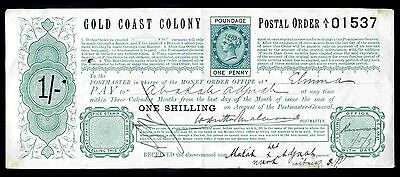Gold Coast Colony. Queen Victoria. One Shilling postal Order.