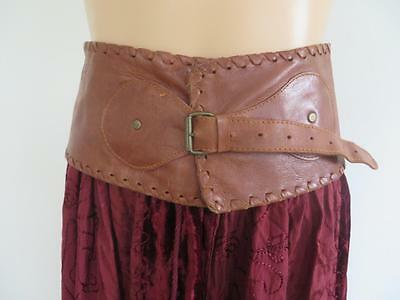 FREE POSTAGE Boho Gypsy Hippy Tan Leather Dress Belt .. Small