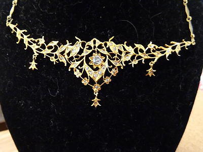 ANTIQUE STRAITS CHINESE PERANAKAN LAVALIER NECKLACE 18k GOLD INTAN DIAMONDS