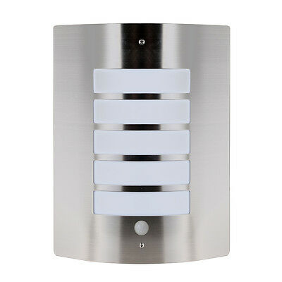 Stainless Steel Outdoor Flush PIR Motion Sensor Security Bulkhead Wall Light NEW