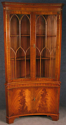 Reprodux Bevan Funnell Flame Mahogany Concave Corner Cabinet On Cupboard No 2