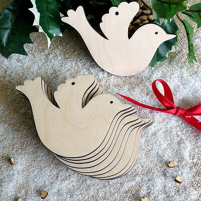 Wooden DOVES Christmas Wedding Birch Blank Decoration Shape Tags Art Craft  x10