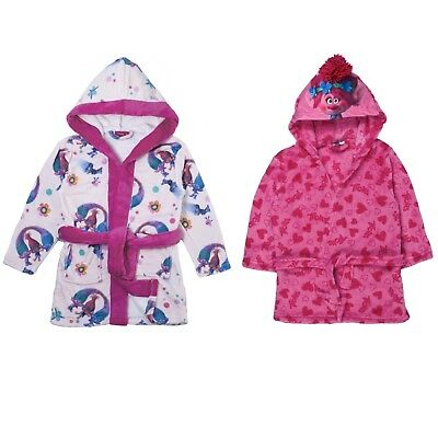 Girls Trolls Hooded Fleece Dressing Gown Poppy Satin Pink Bath Robe Kids Size