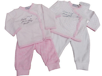 BNWT Baby girls soft  2 piece suit  in heart  or stripes. NB 0-3 3-6 6-9 months