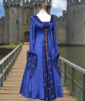 Medieval Renaissance Gothic gown costume fancy dress Halloween Whitby blue