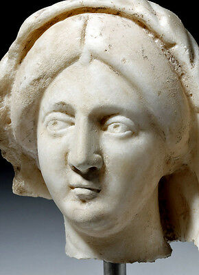 ARTEMIS GALLERY Expressive Roman Marble Head of a Woman with Veil