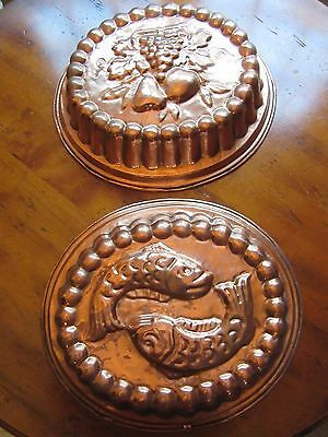 Set of 2 VINTAGE COPPER  Mold TIN LINED FRUIT & FISH Embossed MADE IN ITALY 14""