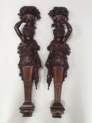 BEAUTIFUL Antique French Renaissance Statues a Pair in Walnut 19th Century