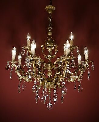 Opulent Brass Cherubs French Chandelier Crystal Glass Vintage Old Lamp Ancient