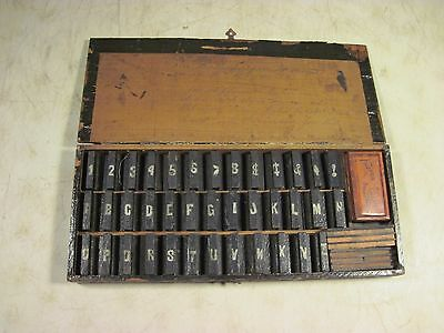 Antique Wooden Stamp Letter Press Set Fulton Pad 38 Characters USA 1800's