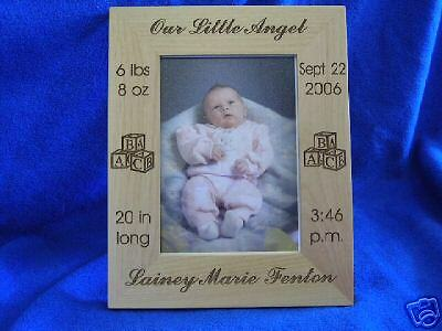 Engraved Personalized Baby 5x7 Picture Photo Frame Wood