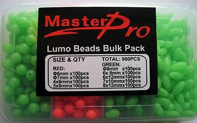 900 x Fishing Lumo Soft Glow Beads Bulk Pack,Bouns Tackle Box Fishing Tackle