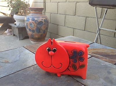 CAT COIN BANK Composite Ceramic Psychedelic Flowery Hippie Colors Vintage