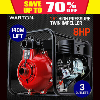 "NEW 8HP 1.5"" Petrol High Pressure Water Transfer Pump Fire Fighting Irrigation"