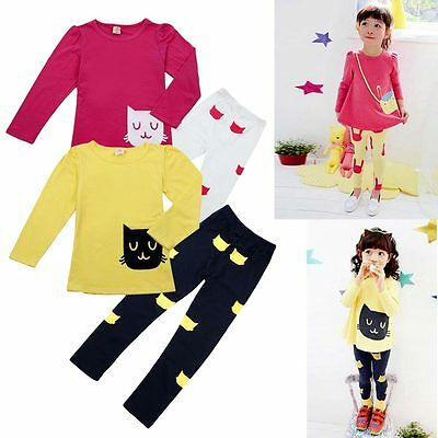 3-8Y Cute Bebé Niña Cartoon Camiseta Top + Cat Pantalones Leggings Infantil