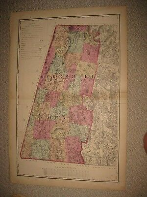Antique 1871 Berkshire County Pittsfield Lenox Massachusetts Handcolored Map Nr