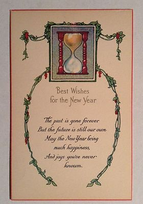 Vintage Happy New Year Postcard Unused With Hourglass