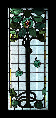 Rare Stunning Mackintosh Rose Flower Tree Antique English Stained Glass Window