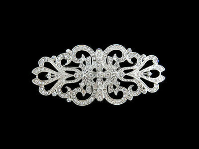Vintage Inspired Rhinestone Clear Crystal Cross Brooch Wedding Party