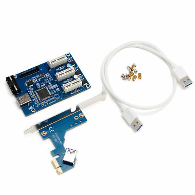 1X  PCI-e Express 1X to 3 Port 1X Switch Multiplier HUB Riser Card +USB Cable