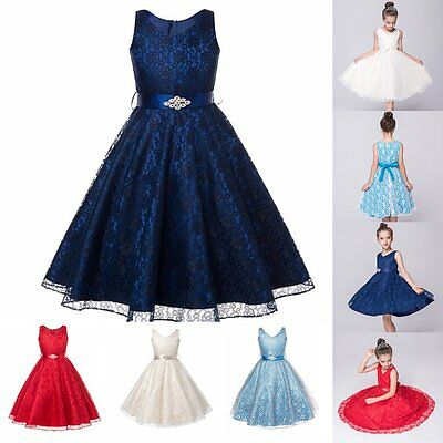 Girls Flower Lace Sleeveless Formal Wedding Dress Party/Bridesmaid/Prom/Princess