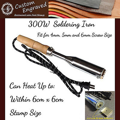 300W Leather Stamp Soldering Iron w/ Brass Adapter for wood Leather & Foil Paper