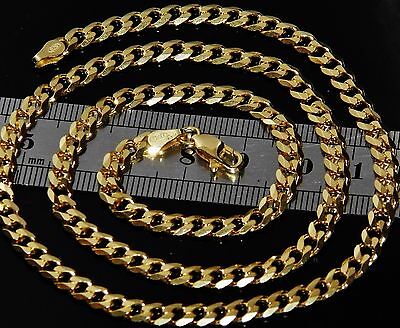 UK HALLMARKED 9 CT YELLOW GOLD ON SILVER SOLID 20 INCH CURB CHAIN - 15.5g