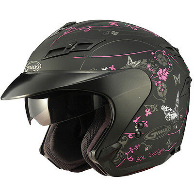 2-In-1 Cruiser Motorcycle Pink Butterfly Helmet Retractable Visor Full Shield Sm