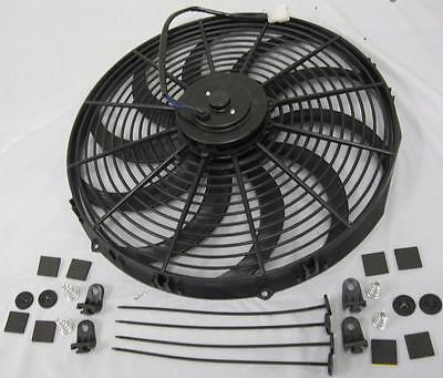 """16"""" Inch Extreme Duty High CFM S-Blade Electric Radiator Cooling Fan + Mount Kit"""