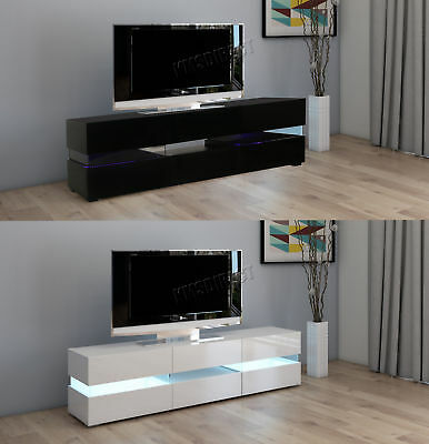 FoxHunter High Gloss Matt TV Cabinet Unit Stand RGB LED Light Home TVC07 177cm