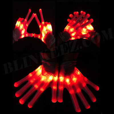 NEW! FIRE RED XBone Rave LED Flashing Gloves Burning Wear Man LightUp Show DJ