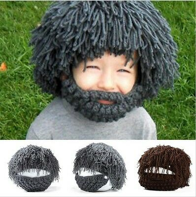 Winter Knit Warm Funny Wig Beard Hats Hobo Mad Caveman Mens Boys Hat Beanies